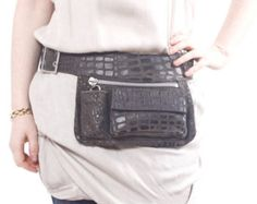 Brown Leather Hip Bag bum bag fanny pack travel pouch by Aviveruty