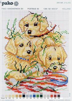 Cuccioli puppy animali copertina cane baby punto croce