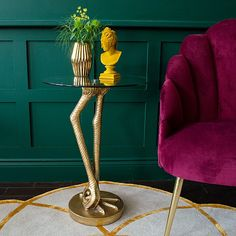 This Brass Birds Leg Side Table with Glass Top is an elegant, quirky side table. A gorgeous pair of brass birds legs support the round glass top. Brass Side Table, Table Legs, Guest Bedroom Home Office, Silver Living Room, Family Room Addition, Velvet Armchair, Unique Furniture, French Furniture, Bathroom Interior Design