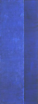 Barnett Newman, Ulysses, 1952. Oil on canvas, 132 1/2 x 50 1/8 inches (336.6 x 127.3 cm).     The Menil Collection, Houston. Gift of Adelaide de Menil Carpenter and Dominque de Menil.   Photograph by Bruce White, Courtesy of the Barnett Newman Foundation.