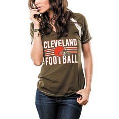 1efee1434f8 Cleveland Browns Majestic Women's Game Day V-Neck T-Shirt - Brown.  Pittsburgh Steelers GameDenver Broncos ...