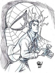 Mike Wieringo's Spider-Man and Peter Parker Comic Book Artists, Comic Artist, Comic Books Art, Spiderman Girl, Spiderman Pictures, Drawing Superheroes, Cool Sketches, Spider Verse, Amazing Spider