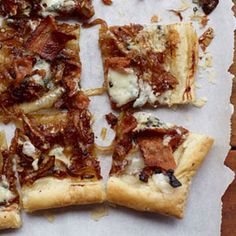 Caramelized Onion, Bacon & Blue Cheese Tart — so many good things on one flaky, buttery base! #recipes