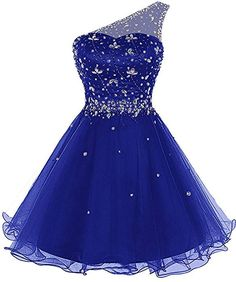 Lily Wedding Juniors Aline One Shoulder Beaded Prom Dress 2018 Short Tulle Homecoming Party Dress Mini Size 2 Royal Blue Pretty Prom Dresses, Cute Dresses, Beautiful Dresses, Short Dresses, Girls Dresses, Formal Dresses, Dama Dresses, Prom Dresses 2018, Quince Dresses