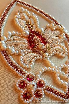 Hand embroidery ترمه Pearl and goldwork embroidery - stylized pomegranate design If you have been in Pearl Embroidery, Tambour Embroidery, Couture Embroidery, Embroidery Motifs, Silk Ribbon Embroidery, Embroidery Designs, Bordados Tambour, Tambour Beading, Motifs Perler