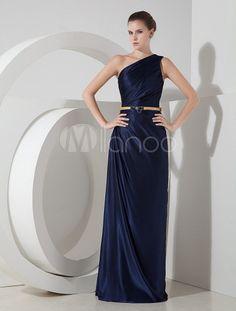 Deep Blue One-Shoulder Elastic Silk Like Satin Evening Dress - Milanoo.com