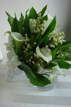 Lily Of The Valley, White Calla Lilies, Green Foliage