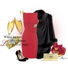 """""""'Love At First Sight'"""" by ladyjaynne on Polyvore #valentines #DateNight #wedding #reddress #red #pumps #gold #goldjewelry #clutch #hearts #cape #fur #feminine #lovely #dressy #dress #polyvore #fashion #style #engagement"""