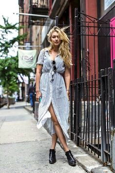 Model-Off-Duty: Gigi Hadid In A Striped Shirtdress And Ankle Boots #style #fashion #streetstyle