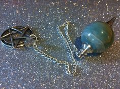 Aventurine Sphere Pentacle Pendulum by BlackCatCorner1 on Etsy