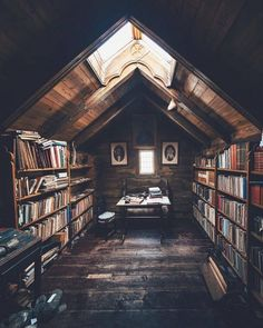 Trendy home library loft attic rooms Ideas Library Room, Dream Library, Cozy Library, Beautiful Library, Little Library, Beautiful Space, Attic Renovation, Attic Remodel, Closet Remodel