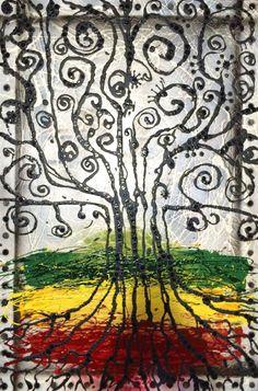 """RASTA ROOTS TREE: 24"""" x 36"""" x 1"""" Mixed Media on Canvas. $200"""