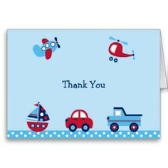 Shop Boys Transportation Thank You Note Cards created by PoshPartyPrints. Baby Shower Thank You Cards, Thank You Note Cards, Custom Thank You Cards, Custom Cards, Baby Party, Baby Shower Parties, Baby Shower Themes, Shower Ideas, Helicopter Birthday