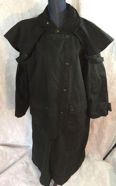 Mens JACKEROOS Outback Australian OILSKIN WAX DUSTER Black Drover Coat Jacket M  | eBay