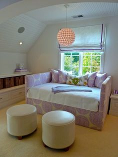 simple lavender + white girls sitting room, breadboard ceiling, pendant lighting, low bookcase storage Lynn Morgan