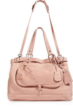 Vanessa Bruno Powder Leather Tote with Shoulder Strap