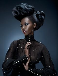 Couture Hairdo and Simply Beautiful Make up Colors on Her Dark Skin