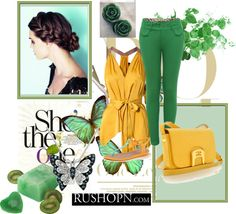 """Cute Green and Yellow Outfit!!!"" by soccerfashionrocker on Polyvore"