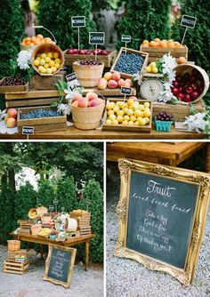 Farmer's Market Wedding Details Happy Monday, lovelies! The theme for this month is farmer's market, and we'll be focusing on everything farm-to-table and organic and rustic and generally farm fabulous, alongside our … Farmers Market Display, Farmers Market Recipes, Market Displays, Market Stands, Fruit Shop, Fruit Stands, Fruit Displays, Farm Stand, Farmers Market