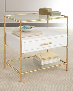Gold Bamboo Frame White Drawer Side Table