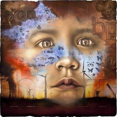 This painting represents a choice between further exploitation of the earth or a move towards sustainable living. The child emerging from the centre refers to the future generations who will benefit from the choices and actions that are made today.