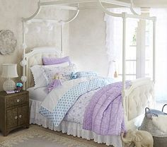 LOVE this tufted four poster bed frame for Chloe's room...but do we get it in Twin or Full?!