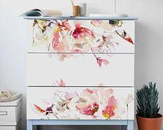 Decals for MALM Dresser skin ikea Dark tropical leaves Coral Furniture, Mirrored Furniture, Furniture Hardware, Refurbished Furniture, Ikea Furniture, Furniture Stores, Furniture Ideas, Ikea Malm Dresser, Dressers