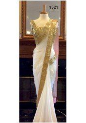 Designer Off White Georgeet Saree by Vendorvilla
