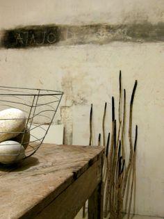 rustic modern Patricia Larsen home/studio sticks wire basket rustic table