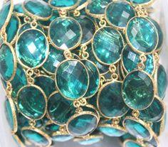 18 INCH GREEN HYDRO FANCY SHAPE 24k GOLD PLATED BEZEL VERMEIL CHAIN #PIYUSH