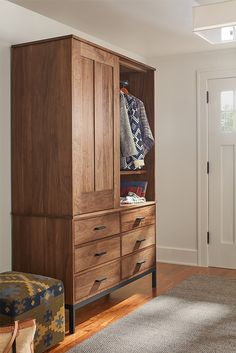 The top our Linear armoire detaches from the bottom, making it easy to fit into any room.