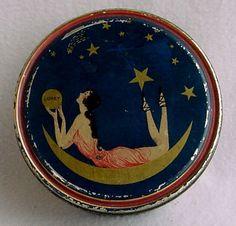 Woman on the moon powder tin