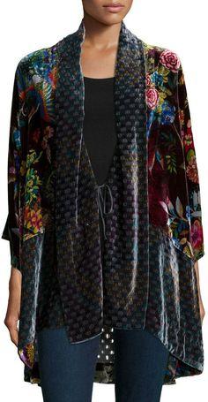 Johnny Was Collection Dream Multi-Print Velvet Kimono Jacket Womens - Women Kimono Jackets - Ideas of Women Kimono Jackets Kimono Dress, Kimono Jacket, Kimono Cardigan, Winter Kimono, Summer Kimono, Kimono Fashion, Modest Fashion, Look Fashion, Autumn Fashion
