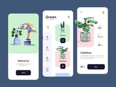Green - Mobile Design Houseplants Store by Outcrowd on Dribbble Android App Design, Mobile App Design, Web Design, Store Design, Motion App, App Design Inspiration, Green Cactus, Branding, Calathea