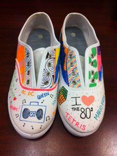 80s costume idea - white nurses shoes and fabric markers.