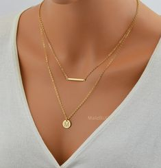 Check out SALE 10% Bar Necklace, Delicate Gold Necklace, Perfect Layering Necklace in 14k gold, Sterling Silver or Rose Gold Filled, Tiny Horizontal B on malizbijoux