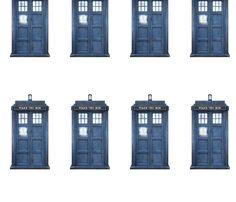 FABRIC Doctor Who Blue Police Phone Boxes fabric by janinez on Spoonflower - custom fabric