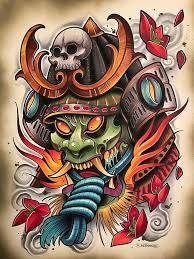Resultado de imagen para samurai tattoo design a color