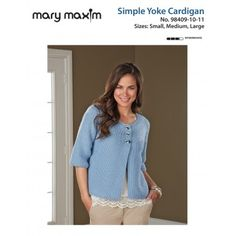 Mary Maxim - Free Simple Yoke Cardigan Pattern - Available for a Limited Time…