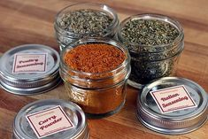 "DIY... ""Make your own ITALIAN SEASONING, POULTRY SEASONING, & CURRY POWDER using herbs and spices that are already in your pantry. These are easy gifts for stockings & the cooks in your life."" also has free printable labels to use."