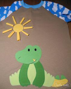 Krokodil Applikation crocodile applique Monstabella