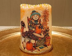 LED Pillar Candle With Two Scarecrows, Pumpkins, Sunflowers, Fall Leaves, Rocking Chair And More. by DontForgetTheFlowers on Etsy Wrapping Paper Bows, Gift Wrapping, Flameless Candles, Pillar Candles, Hand Painted Highlights, Halloween Candles, Thanksgiving Centerpieces, Scarecrows, Fall Leaves