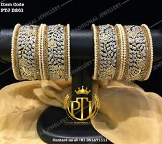 "Punjabi Traditional ""Gold Plated American Diamond Pearls Bangles Set""(Next to Real) Item Code - PTJ For price please inbox with… Gold Jewellery Design, Gold Jewelry, Jewelery, Quartz Jewelry, Leather Jewelry, Bridal Bangles, Wedding Jewelry, Silver Bracelets, Bangle Bracelets"