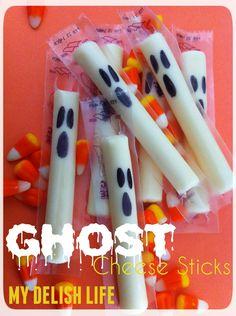 Halloween snacks Halloween Treats Ghost Cheese Sticks Www.facebook.com/MyDelishLife