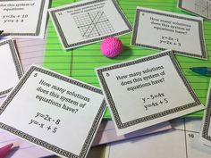 15 Systems of Equations Activities For Your Classroom Algebra Activities, Teaching Math, Math Games, Teaching Tips, Maths, Systems Of Equations, Class Games, 8th Grade Math, Math Practices