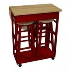 Yu Shan Breakfast Cart with Drop-leaf Table 355-29 in Red