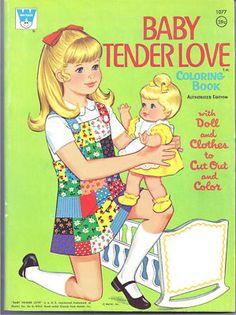 Vintage Barbie Doll House 1960s   Vintage Baby Tender Love Coloring Book Paper Doll