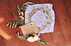 wreath invitation printed on a hankie