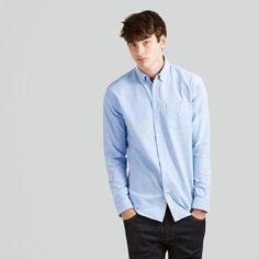 Jasper Oxford Shirt in Pale Blue Light Blue, Oxford, Man Shop, Shirt Dress, Clothes For Women, Jasper, Womens Fashion, Mens Tops, Linen Shirts