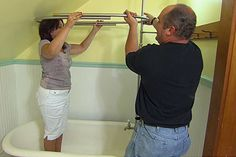 This Old House plumbing and heating expert Richard Trethewey outfits an old standalone tub with a new showerhead Tub Shower Combo, Diy Shower, Attic Shower, Clawfoot Tub Shower, Stand Alone Tub, Cast Iron Bathtub, Diy Bathroom Remodel, Bathroom Remodeling, Bathroom Inspiration